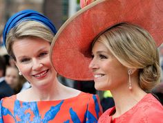 Queen Maxima of The Netherlands and Queen Mathilde of Belgium opened the exhibition of the Flemish Vormidable Contemporary Flemish Sculpture on May 20, 2015 in The Hague, Netherlands.(The exhibition shows current and upcoming flemish artists.)