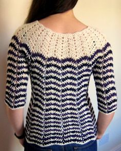 "Chevron stripes 3-season sweater // makemydaycreative, free pattern in the 36"" size. Would love to get good enough to make this."