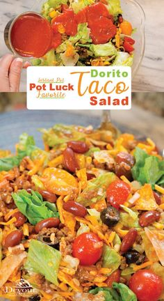Your family will love this tossed Dorito Taco Salad Recipe loaded with so many yummy flavors. A Neighborhood Winning Recipe and crowd pleaser! Summer Lunch Recipes, Easy Potluck Recipes, Healthy Potluck, Easy Summer Meals, Potluck Dishes, Instant Pot Dinner Recipes, Summer Salads, Dorito Taco Salad Recipe, Taco Salad Recipes