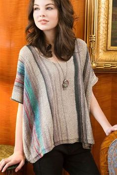 bb4c1449e197bb Free Knitting Pattern for Easy Espenson Pullover - Caftan style poncho  pullover top knit in one