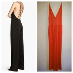 Elegant Orange Jumpsuit Slight sheen with v-neck and criss-cross spaghetti straps with side pockets. H&M Pants Jumpsuits & Rompers