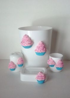Fake Cupcake Bathroom Plastic Accessory Set with Trash Can, Toothbrush Holder, Cup, and Soap Dish for Shabby Cottage Bathrooms on Etsy, $29.99
