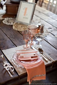 MUST scrounge antique shops for some peach toned wine glasses! FUN!