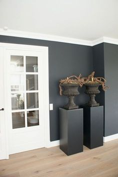 wood /grey / white -Landelijke woonideeën - ArkelWonen - strakke sokkels met klassieke potten
