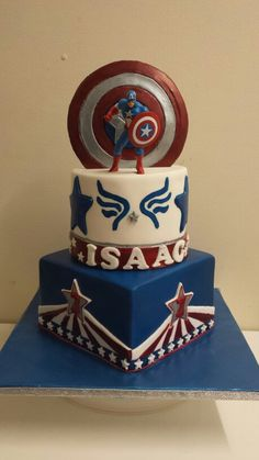 Captain america cake Captain America Party, Captain America Birthday, Capt America, Superhero Cake, Superhero Birthday Party, Fondant Cake Tutorial, Avenger Cake, Just Cakes, Occasion Cakes