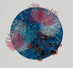 Louise Bradley globe screenprint botanical flowers line drawing papercut