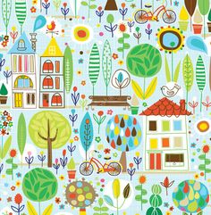 Spring Street Houses And Trees by Carolyn Gavin