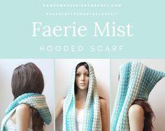 Faerie Mist Hooded Scarf - Free Pattern https://oombawkadesigncrochet.com/2017/07/faerie-mist-hooded-scarf-free-pattern.html