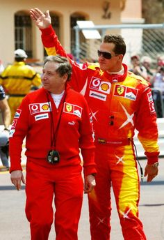 jean todt and schumi's new designed driving suit