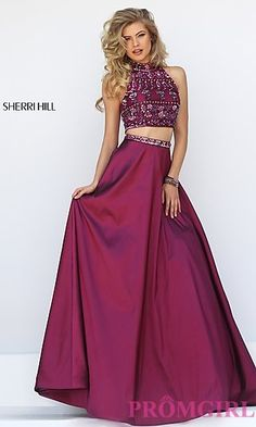 Sherri Hill Two Piece Dress with Beaded Top at PromGirl.com
