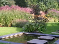 garden landscaping water feature in large yorkshire garden by paperbark garden design stepping stone formal
