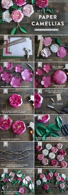 gorgeous metallic paper flower tutorial