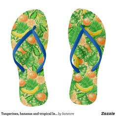 99591745719a Tangerines bananas and tropical leaves flip flops - Durable Thong Style  Hawaiian Beach Sandals By Talented