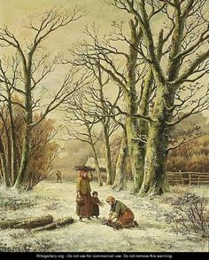 §§§ : Women Gathering Wood in a Winter Landscape : Hendrik Barend Koekkoek : 1849-1909