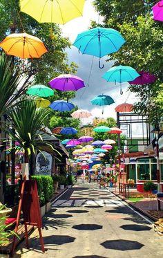 Beautiful hanging umbrellas in Chiang Mai, Thailand | Copyright © @Just1WayTicket