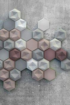 & - Asymmetrical surfaces and soft colors New Kaza Concrete three-dimensio . & – Asymmetrical surfaces and soft colors New Kaza Concrete three-dimensional tile Home Design, Wall Design, Design Art, Soft Colors, Colours, Wall Colors, Small Bathroom Tiles, Bathroom Fixtures, Small Tiles