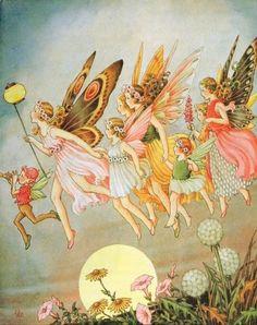 Art Nouveau Fantasy Fairies Art Print 8 x 10 - Fairy Illustration Fantasy Kunst, Fantasy Art, Fantasy Fairies, Fairy Paintings, Vintage Fairies, Forest Fairy, Beautiful Fairies, Flower Fairies, Fairy Art