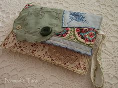 Green and Blue Doily Clutch Purse by nomadictara on Etsy