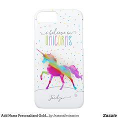 243d9116dd Add Name Personalized Gold Glitter Rainbow Unicorn Case-Mate iPhone Case    Zazzle.com