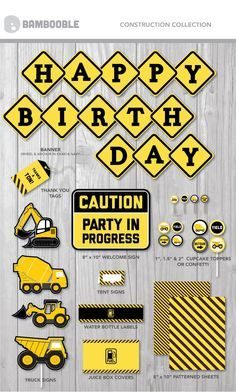 This fun PRINTABLE construction theme is perfect for your little builders! http://www.bambooble.com/store/p10/Printable_Construction_Party_COLLECTION.html