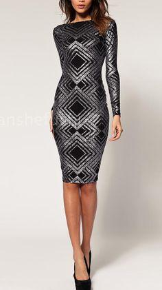 New Sequin Long Sleeve High Neck Bandage Midi Dress
