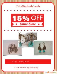 Christmas deal! 15% OFF our Entire Store. Coupon Code: XMASPARTY Min Purchase: 10.00 Expiry: 15-Dec-2015 Click here to view all products: Click here to avail coupon: https://orangetwig.com/shops/AAAkB9K/campaigns/AABwrmG?cb=2015012&sn=CeliaElizabethJewels&ch=pin&crid=AABwrl0