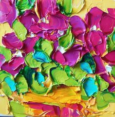 Oil Painting Impasto Shades of Magenta Floral Texture Palette Knife by IronsideImpastos (42.00 USD) http://ift.tt/1LMjvRK