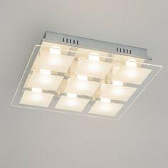 Plafón QUADRATE 9 cromo - Lámpara muy elegante de iluminación LED integrada acabada con cristales cuadrados. Los LED están dispuestos de tal manera para crear una distribución ideal de la luz.