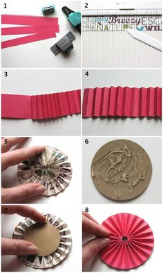how to make simple rosettes with strips of paper.