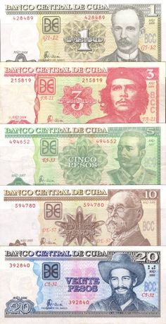 2002-2008 Cuba Banknotes  1,3,5,10,20 Pesos Circulated