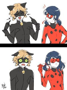 "Chat : ""look I got pigtails too !"" Ladybug : *takes off pigtails *  Rude much !?"