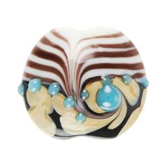 19x21mm Canyon night sky glass disc beads. These gorgeous glass lampwork beads have black and white stripes with black and tan swirls and turquoise raised spots.