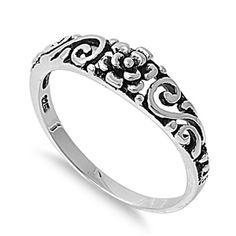Sterling Silver Flower Swirl Ring