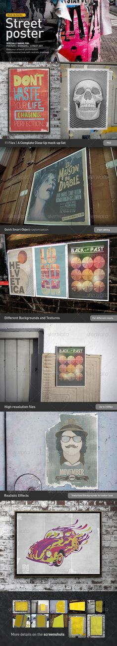 Poster Mock-Up  #sketch mockup #street art • Available here → http://graphicriver.net/item/poster-mockup/3017426?s_rank=65&ref=pxcr