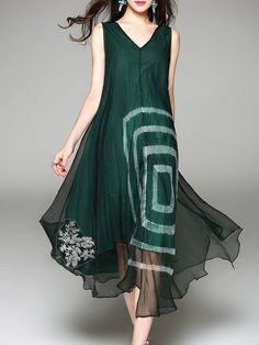 Shop Midi Dresses - Dark Green Embroidery Casual Swing V Neck Midi Dress online. Discover unique designers fashion at StyleWe.com.