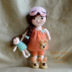 Needle felted doll Bedtime doll with her doll by FunFeltByWinnie, $88.00