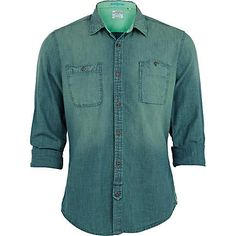 Blue check shoulder patch shirt - shirts - sale - men | Long ...
