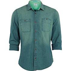 green denim shirt - shirts - sale - men - River Island