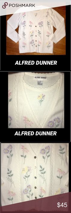 🦋Alfred Dunner•Beaded Embroidered Sweater Delicate,embroidered flowers,with beading,buttons down front with full sweater underneath  Sz SMALL Alfred Dunner Sweaters Crew & Scoop Necks
