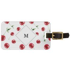 Watercolor Red Cherry Pattern Luggage Tag - accessories accessory gift idea stylish unique custom