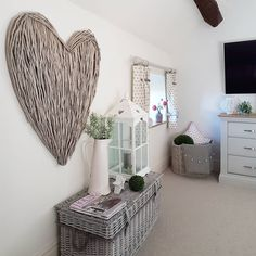 Calming bedroom Soft greys Extra large wicker heart Buckled trunk Lantern and Greenery Wicker Couch, Wicker Headboard, Wicker Bedroom, Wicker Shelf, Wicker Table, Wicker Furniture, Living Room Furniture, Wicker Planter, Wicker Tray
