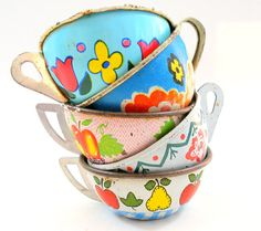 40s Tin Toy Tea cups Set of 5 with fruit & by OldeTymeNotions, $38.00