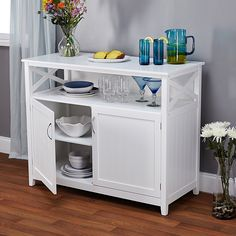 Buy Contemporary Cottage Wooden Buffet in White Finish with Beadboard Doors and Side Panels with Open Shelf - Includes Modhaus Living Pen Adjustable Shelving, Open Shelving, Shelves, Sideboard Buffet, Credenza, Buffet Tables, Wood Buffet, Kitchen Sideboard, White Sideboard