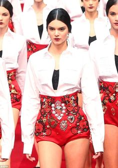 Workin' it: Kendall was certainly the centre of attention as she strutted down the catwalk...