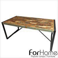 [ ForHome ] TA-143 Vintage Industrial 彩色工業風 仿舊彩繪回收木 芒果木鐵件餐桌