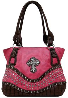 "Western Purse Shoulder Bag with Bling Cross 13"" x 8"" x 5"" Black, Hot Pink, Brown or Turquoise"