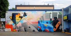 Mural in a part of town associated with skateboarders. Kamloops, BC