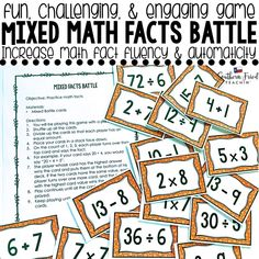 Mixed Math Facts Battle Game - Fun Game to Practice Math Facts Critical Thinking Activities, Math Fact Fluency, Classroom Hacks, Whole Brain Teaching, Battle Games, Learning Styles, Math Facts, Math Lessons, Fun Games