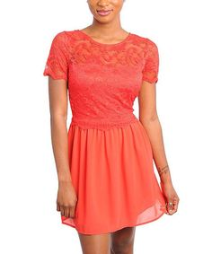 Take a look at this Coral Sheer Lace Accent Dress by Buy in America on #zulily today!