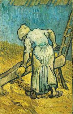Vincent van Gogh: The Oil Paintings: Peasant Woman Cutting Straw ( after Millet).  Saint-Rémy: September, 1889